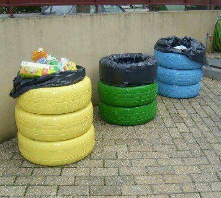 Comprar Botes de basura? Mejor reutiliza Llantas de Carros