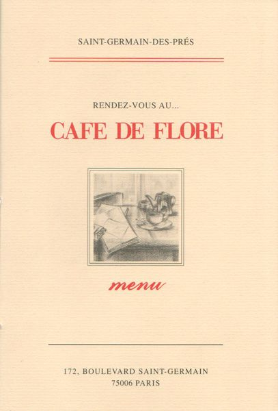 Cafe de Flore, Paris This a menu from a cafe in Paris.  The prices are listes with commas indstead on periods. Cute.