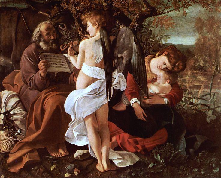 CARAVAGGIO- Riposo durante la fuga in Egitto (1595-96) Olio su tela @Galleria Doria Pamphilj, Roma