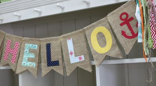 "Burlap ""Hello"" Banner by Michelle Hill"