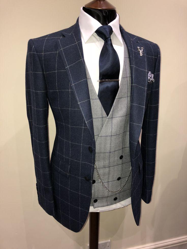 Bespoke Window Pane Jacket | Grey double breasted Waistcoat | Wedding Suit | Groom Suit
