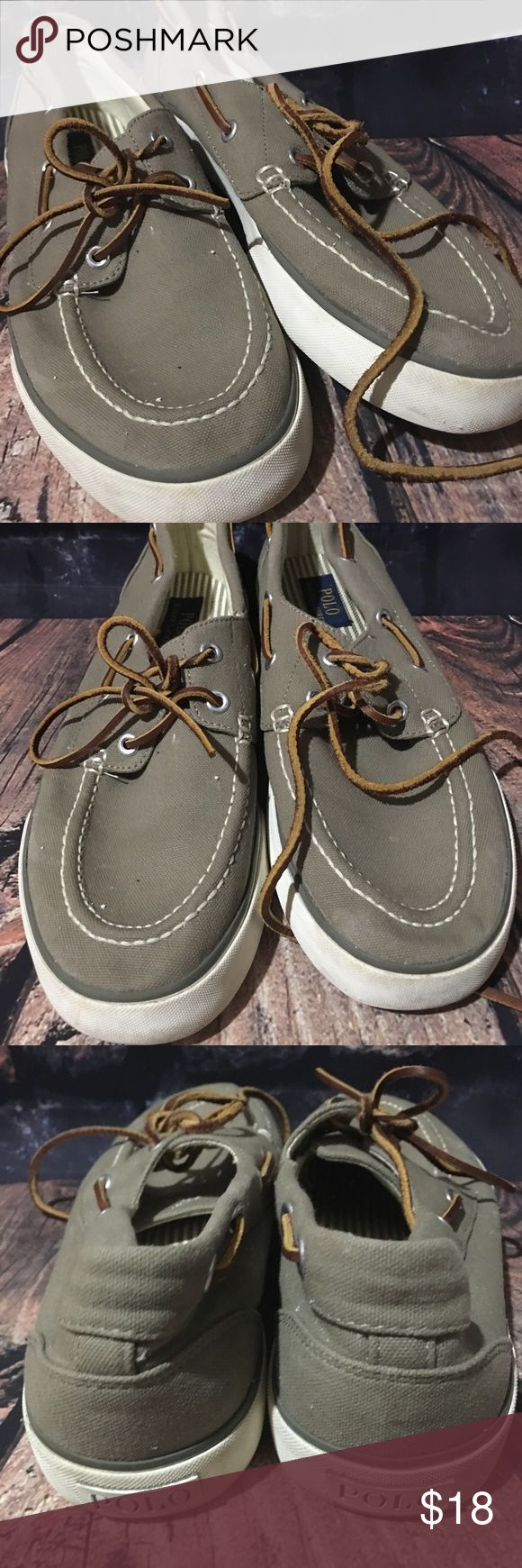 POLO Ralph Lauren Boat Shoes Men's 8.5D POLO Ralph Lauren Sander Boat Shoes Men's Size 8.5 D  Gently used condition. No rips or holes. Color has faded.  Canvas Casual Khaki Color, leather laces measurements are approximate 11 inches on outside sole 10 inches on inside sole Polo by Ralph Lauren Shoes