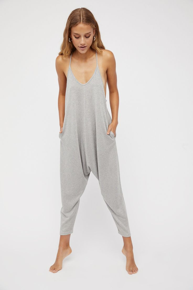 Why Not Shine Romper   Slouchy romper in a rainbow metallic shine.    * Harem style pants   * Dropped armholes   * Racerback   * Hips pockets