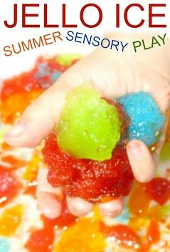 Jello Ice for Kids Summer Sensory Play