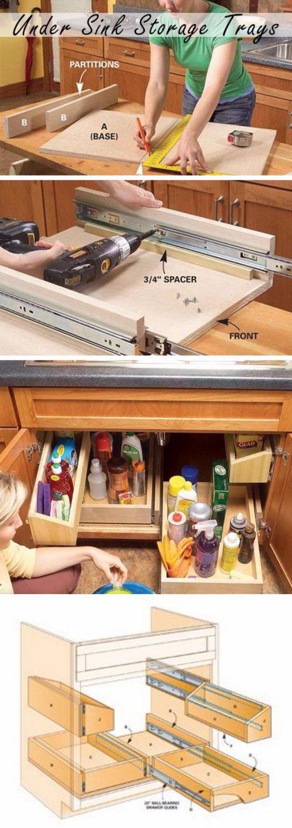 DIY Pull Out Kitchen Sink Storage Trays.