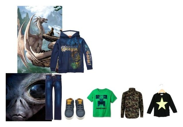 """For Jamie (nephew) - Jamie's ideal wardrobe by me: Alien pet owner!"" by sarah-m-smith ❤ liked on Polyvore featuring Minecraft, Levi's and Nununu"