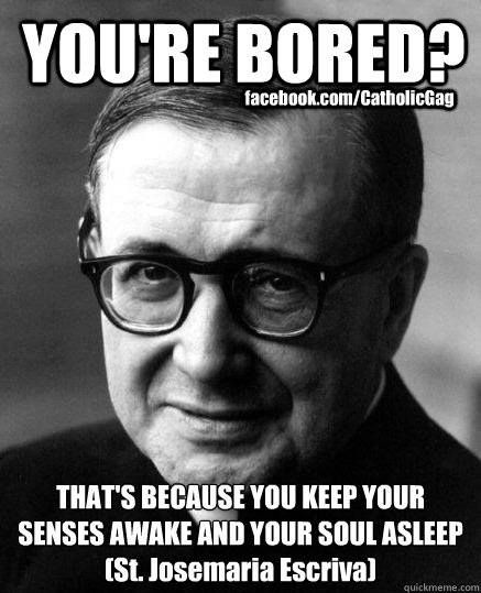 You are bored because you keep your senses awake and your soul asleep. St. Josemaria