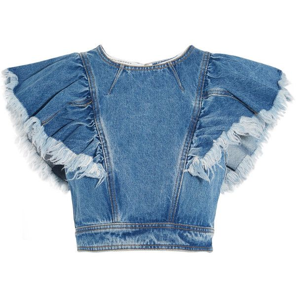 Philosophy di Lorenzo Serafini Cropped ruffled denim top ($365) ❤ liked on Polyvore featuring tops, mid denim, denim frill top, crop top, blue top, cut-out crop tops and flutter crop top