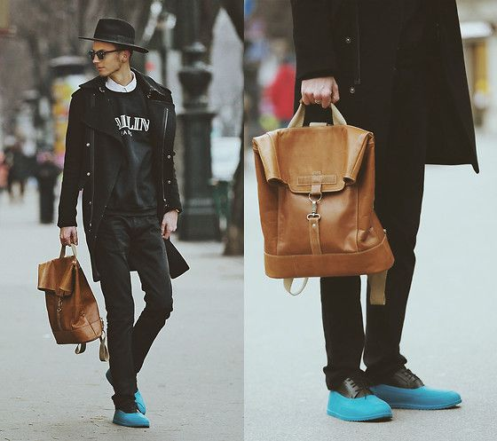 Chaby H. - Benzol Recycled Leather Backpack From Old Couch, Chloé Ballin Sweater, Masamod Fedora Hat, Black Coat, Waterproof Shoes Cover - Modern dandy