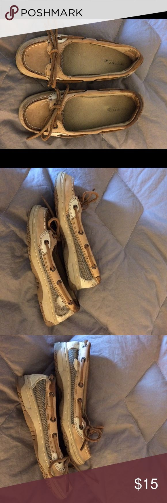 """Girls Sperry """"Angelfish"""" Top-Sider Boat Shoes Cute Girls Sperry Top-Siders with the Angelfish tag. These are well loved and do have some staining at the backs which is visible in the photos. Smoke free home. Sperry Top-Sider Shoes"""