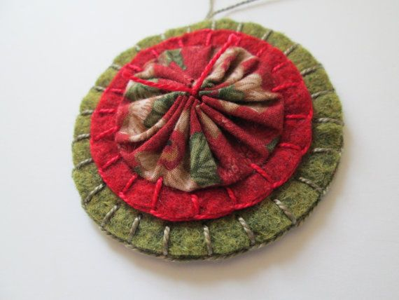 Yo Yo Ornament Red and Green Wool Felt by WoollyBugDesigns on Etsy, $7.00. J - make double sided (a yoyo on each side).