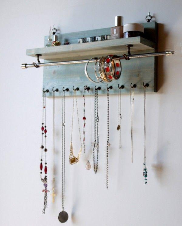 Les 25 meilleures id es concernant porte bijoux sur for Fabriquer rangement mural