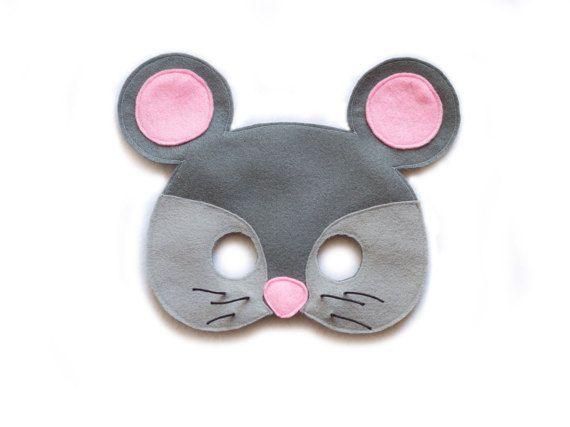 MOUSE Felt Mask - Farm Animal Mask - Child's Adult Mask - Play mask - Gray Mouse…