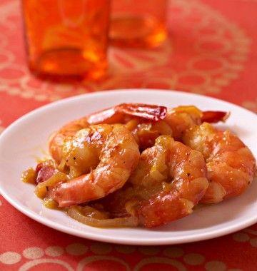Photo de la recette : Poêlées de gambas au miel, gingembre frais et oranges