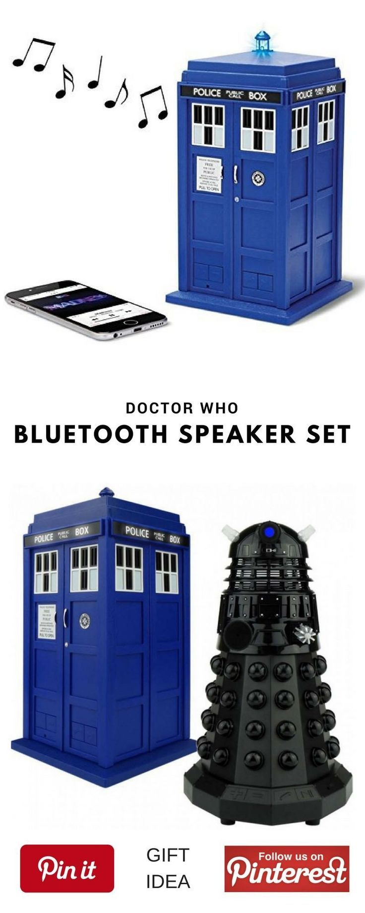Doctor Who Bluetooth Speaker Set. This could be a great best gift for geek friend,  mother's or father's day, birthday for women or men, girls, boys and little kids, christmas, girlfriend, boyfriend, couples, valentine, bridesmaid, graduation, weeding, engagement and retirement. It's an inexpensive great meaning present and personalized for any funny guys anniversary. #geek #cheap #unique #weird #DIY #unusual #homemade #online #coolideas #shop #her #him #Starwars #doctorwho Are you looking