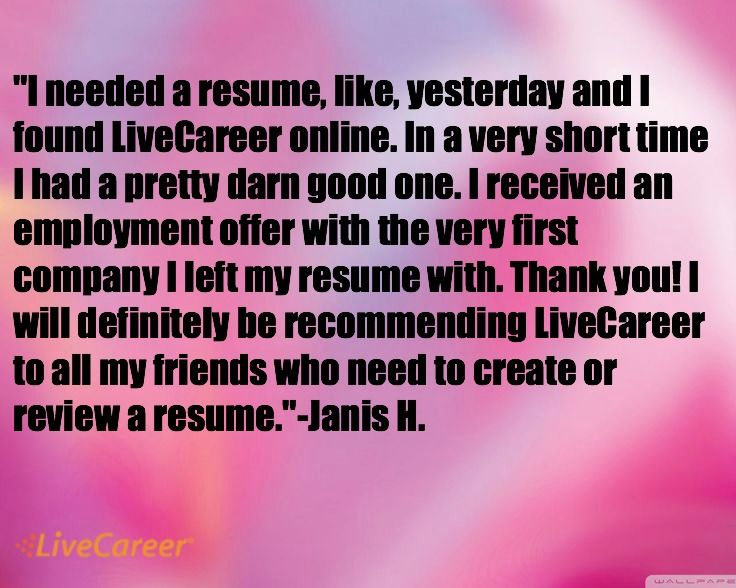 I need a resume, like, yesterday, and I found LiveCareer online - livecareer sign in