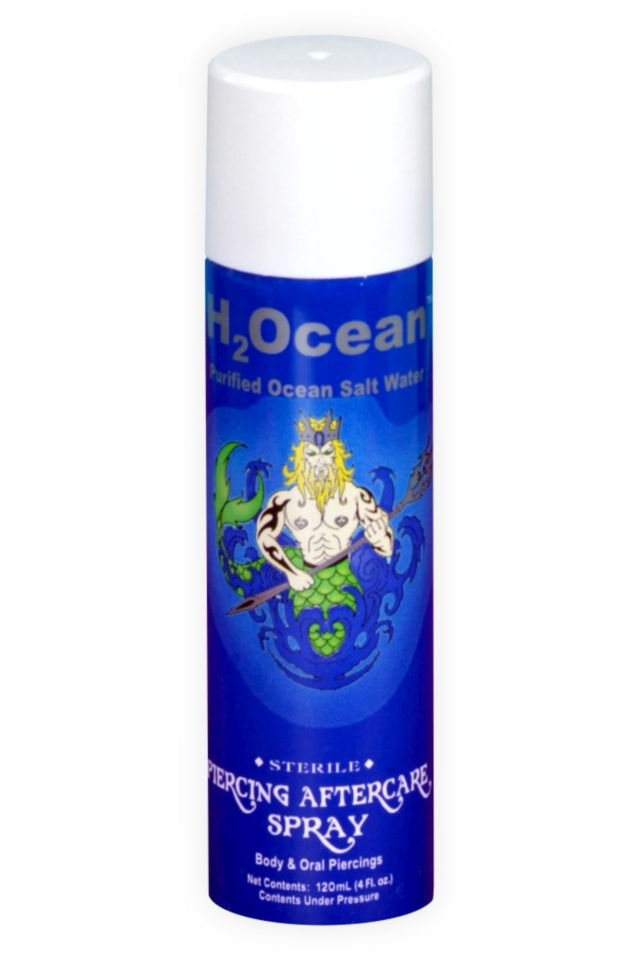 The H2Ocean Piercing Aftercare Spray increases circulation to the body piercing and accelerates the healing process. It helps reduce lumps, scar tissue and itching.
