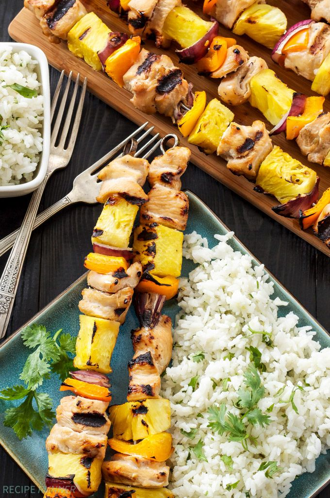 Hawaiian Chicken Skewers with Cilantro Coconut Rice   Grilled Chicken and pineapple are a delicious Hawaiian combination in these easy to make skewers..!!