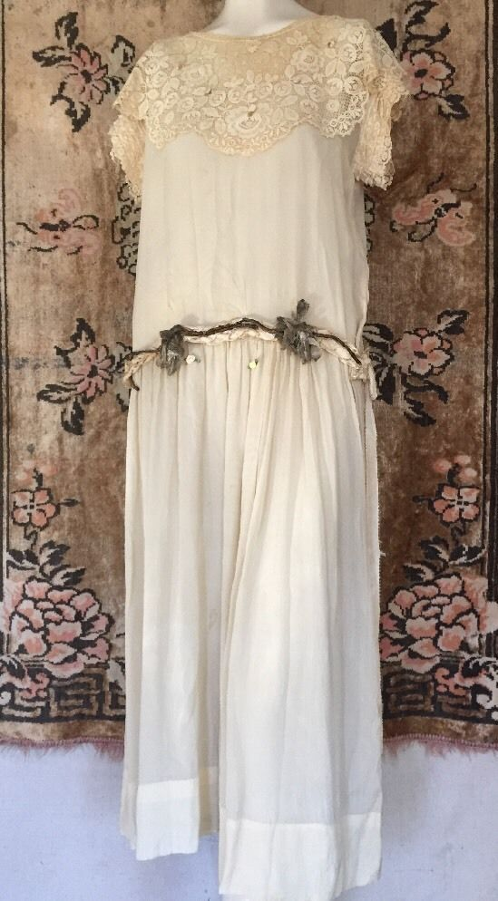 1920s Ethereal Cream Silk Chiffon Dress Lace Collar Lamé Rose Waistband Vintage #Handmade #ArtDeco #SpecialOccasion