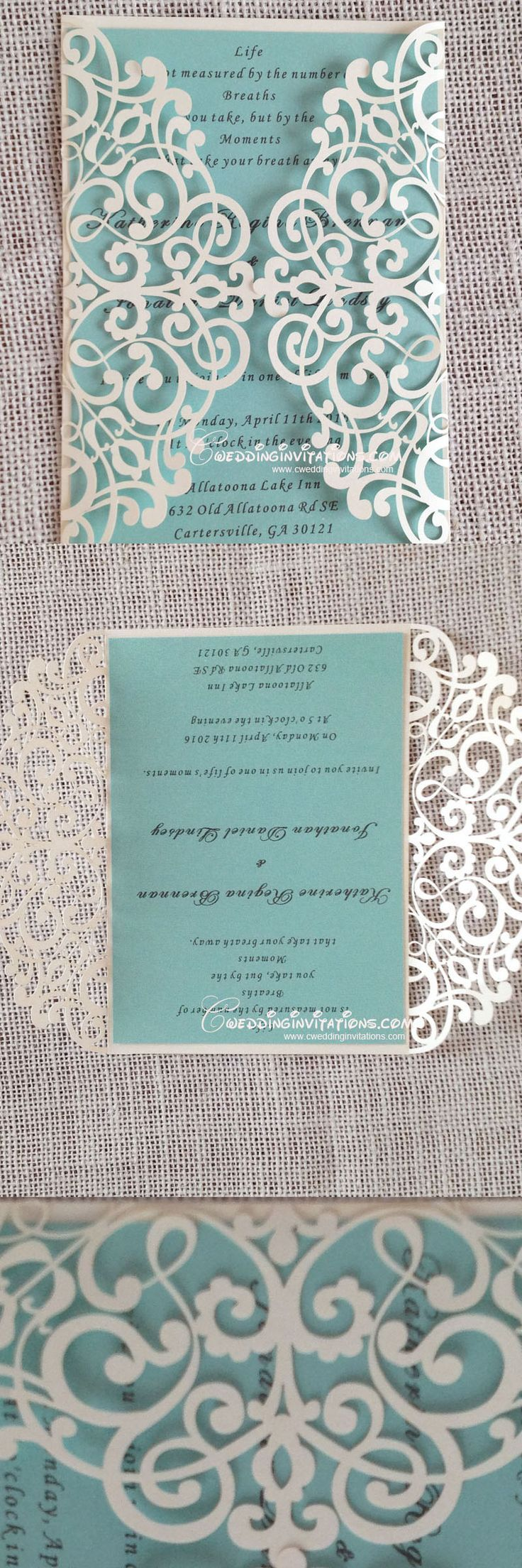 tiffany blue laser cut wedding invitations laser