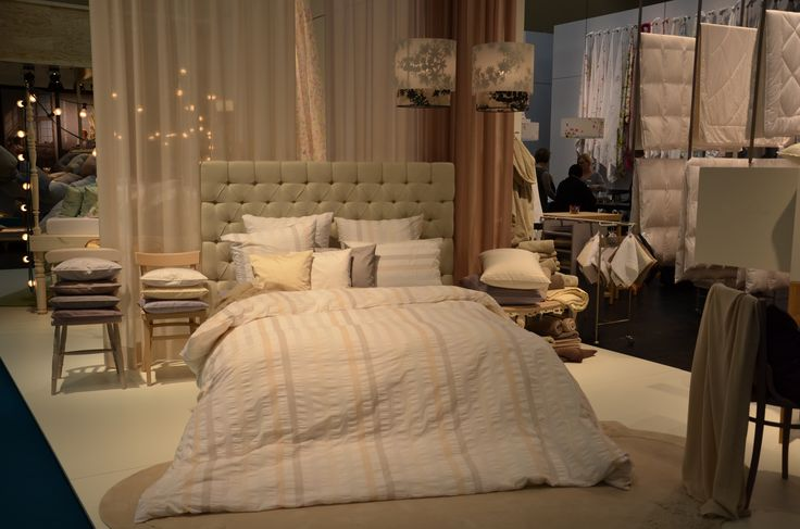 The stand of Christian Fischbacher @heimtextil in Frankfurt, 14 - 17 Jan 2015. New bed linen design WAVE.