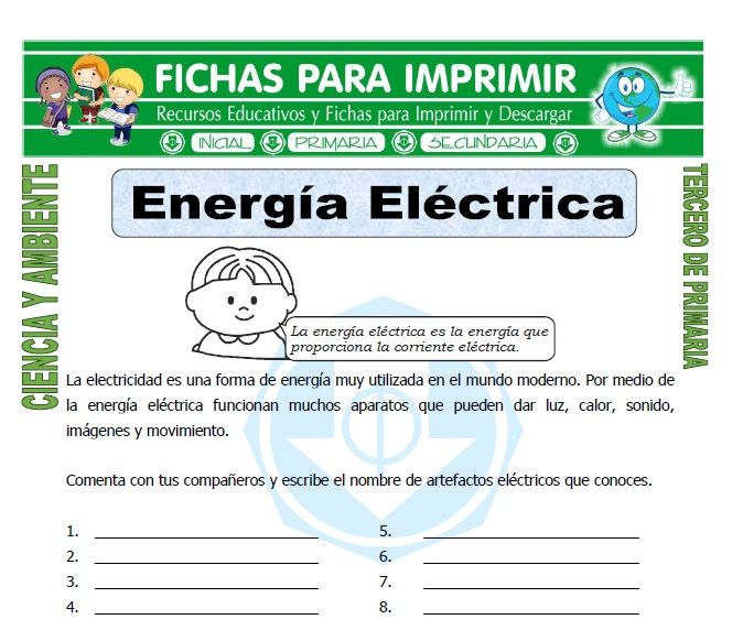 Ficha De Energia Electrica Para Tercero De Primaria Energia Electrica Tercero De Primaria Energía