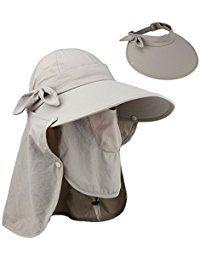 Women Summer Neck Flap Sun Visor Hats Wide Brim UV Protection UPF 50+  Hiking Cap Adjustable 8a4696844b6
