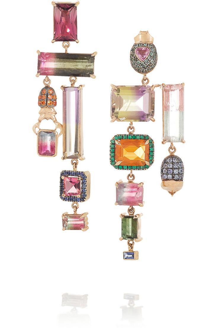 Daniela Villegas | Oompa Loompa 18-karat rose gold multi-stone earrings
