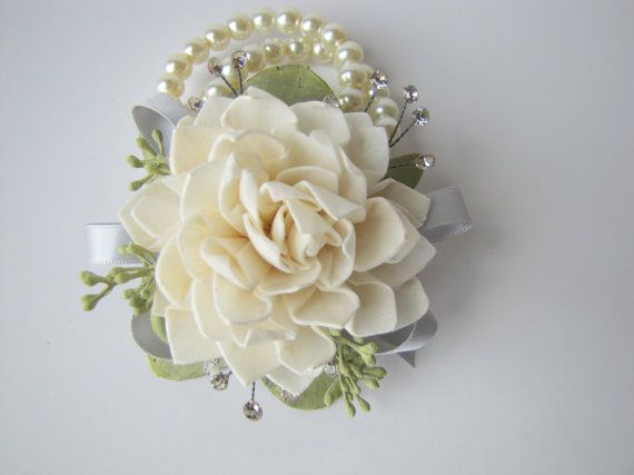 Dahlia and Rhinestone Wristlet Corsage by TheBackyardGardener