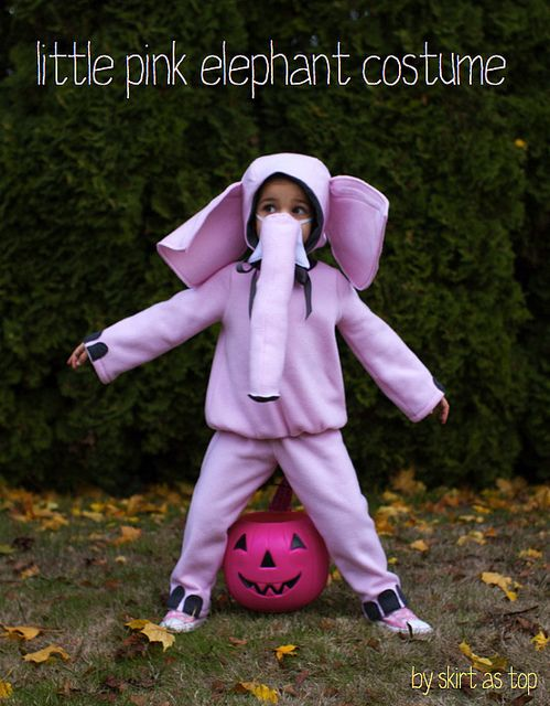 pink elephant costume: hood from Little Things to Sew book