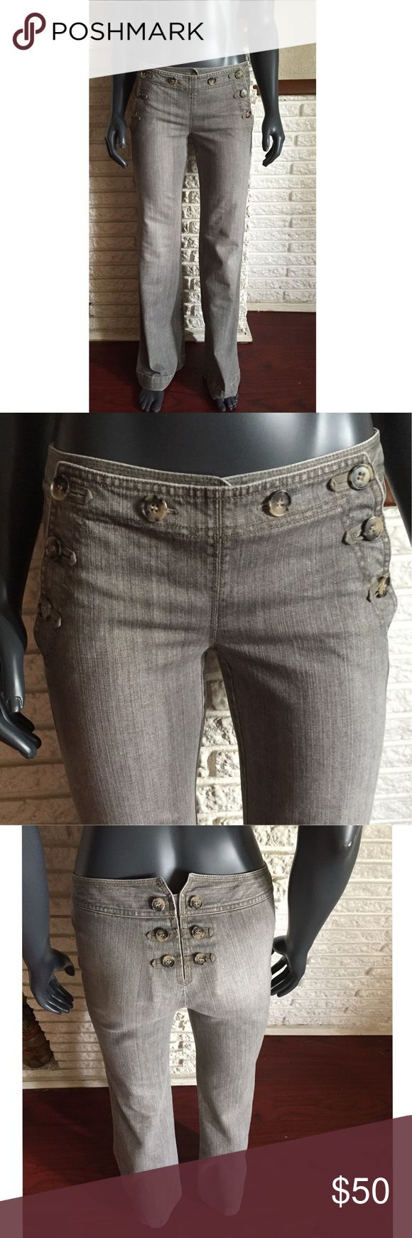 ~Gray Theory Jeans~ High waist wide leg jeans by Theory. Gray lightly stonewashed jeans feature multiple buttons on the front and back. The leg gently tapers out to a wide hem. These hippie style pants are both effortless and unique to wear. Looks great with a wide brim hat and wedge heels 👒👡 Theory Jeans Flare & Wide Leg