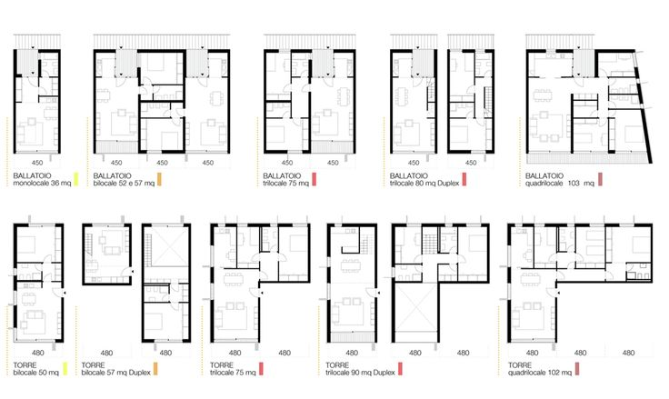 Image 4 of 16 from gallery of Social Housing in Milan / StudioWOK. types of apartments
