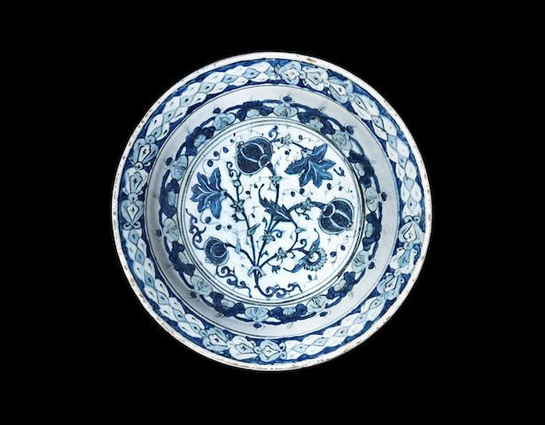 rare blue and white Iznik pottery Dish Turkey, circa 1600 35.5 cm. diam.  Greek private collection; Ch. A. Nomikos Collection, Alexandria.