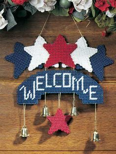 Plastic Canvas - Decorations & Knickknacks - Star-Spangled Welcome