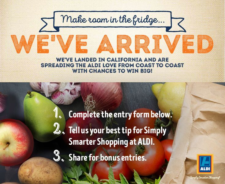 ALDI has arrived in California! Enter for a chance to WIN $100 in ALDI gift certificates.