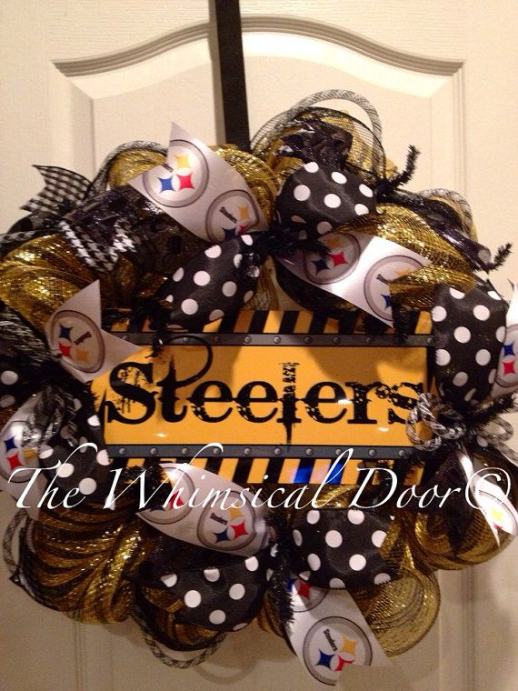 Pittsburgh Steelers NFL Football Decomesh Wreath Black Yellow  Draft Day Father's Day Polkadot  on Etsy, $55.00