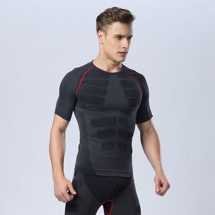 Man Underwear Compression Slim Sport Tshirt Jogging Fitness Top Tight Bodybuilding Shirt Stretch Male Tank Maglietta Di HSMA11