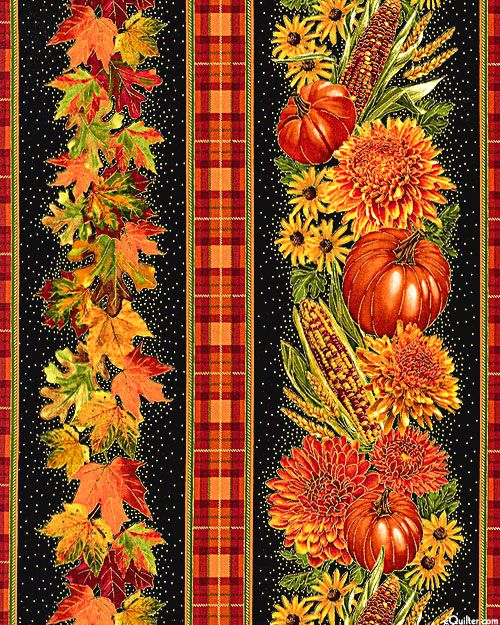 Golden Harvest - Thanksgiving Feast Stripe - Black/Gold