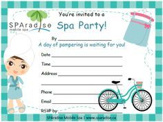 free printable spa birthday invitations