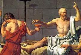 El filosofo griego Socrates al momento de tomar la cicuta...