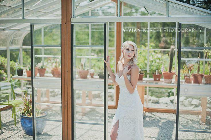 modern bride in cactus garden