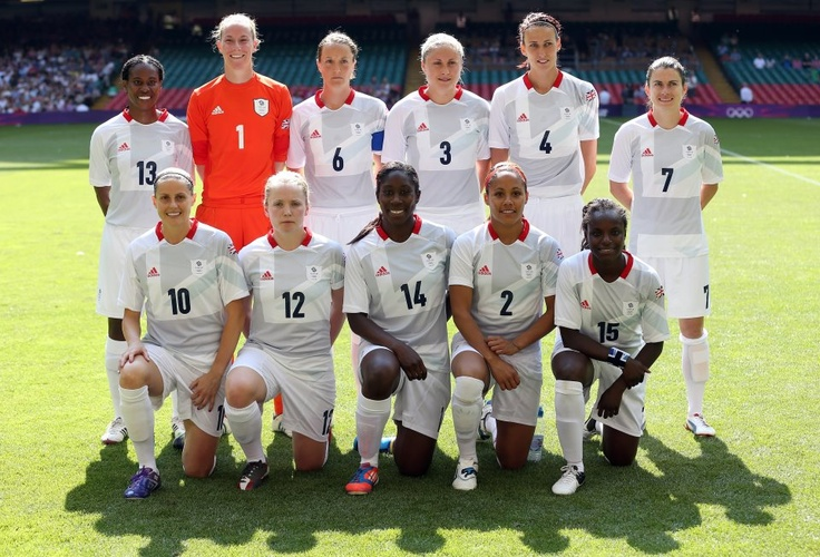 Team GB Womens Football team line up at the Millenium Stadium ahead of kick off, for their first group game against New Zealand