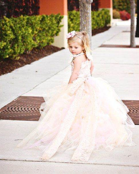 Perfect For A Fairytale Wedding! Pink Champagne Lace Flower Girl Tutu Dress with Detachable Train