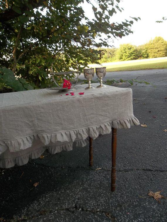 Slipcover Linen Tablecloth Ruffled Tablecloth Fitted Tablecloth Custom Sizes Linen Table Cover French Prairie Wedding Decor Table Settings