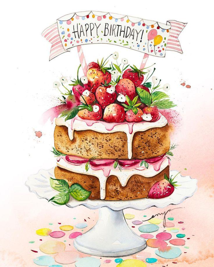 Открытки с днем рождения еда
