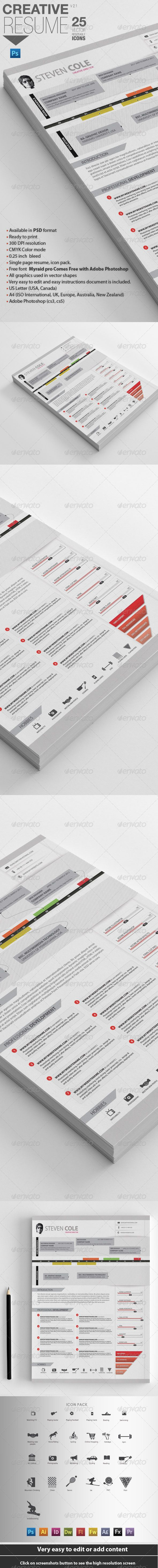 Professional Resume | For Designers — Photoshop PSD #curriculum vitae #print • Available here → https://graphicriver.net/item/professional-resume-for-designers/4112799?ref=pxcr
