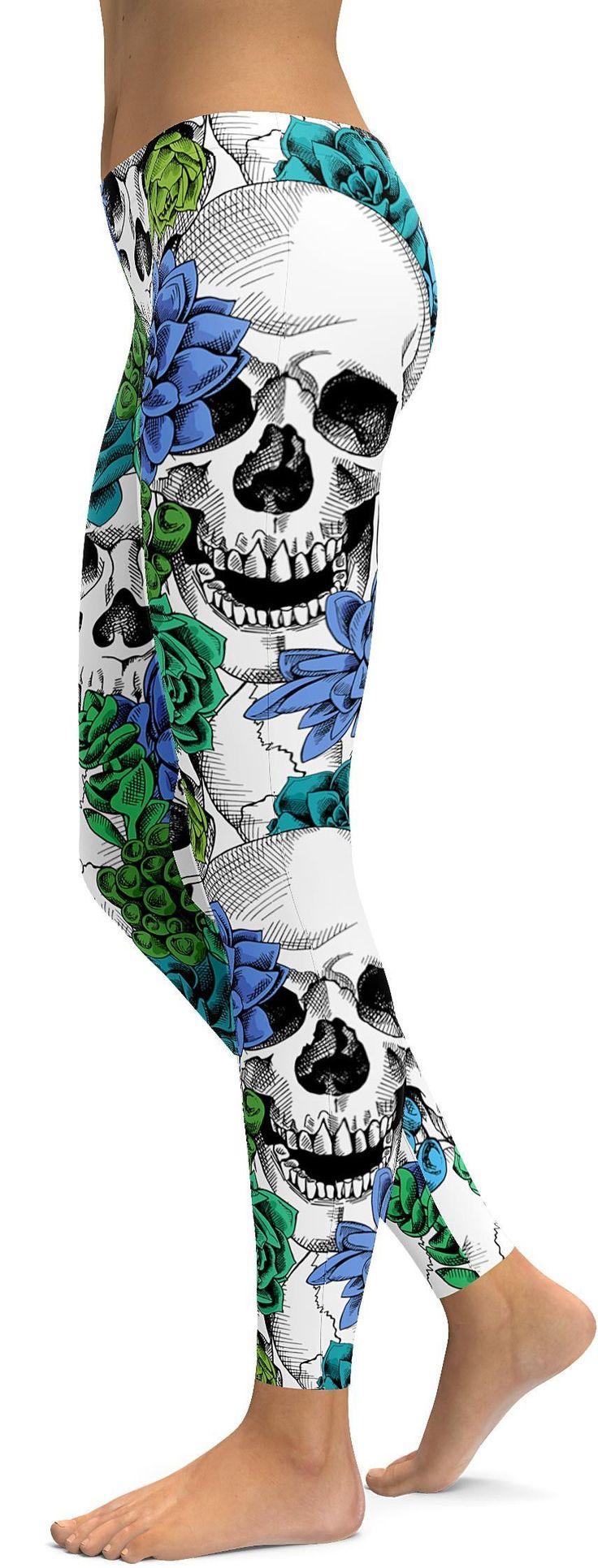 Blue Floral Skulls Leggings