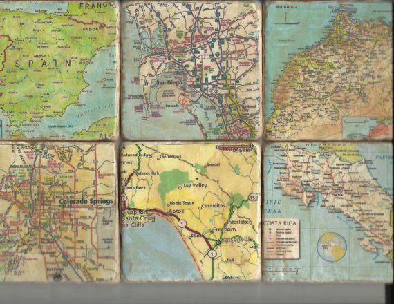 Custom Map Coasters / Maps Decorative Tile Coaster 6 Piece Set / Custom Map Coasters Made for Your Area / Wedding Gift Christmas Gift