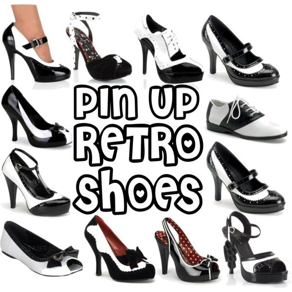 black-white-pin-up-shoes-sale by starlets-harlots-com on Polyvore featuring Retrò