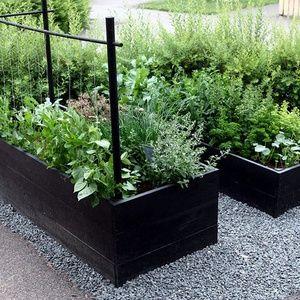 Våra hemmasnickrade odlingslådor målade med svart linoljefärg utan lösningsmedel så man utan oro kan äta grönsaker och örter.